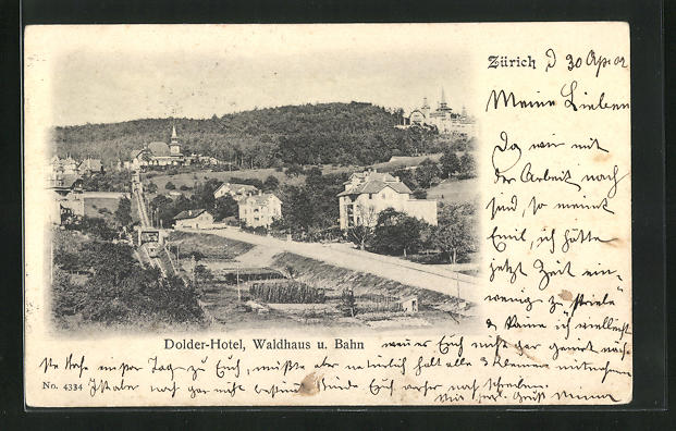AK Zürich, Dolder-Hotel, Waldhaus u. Bahn
