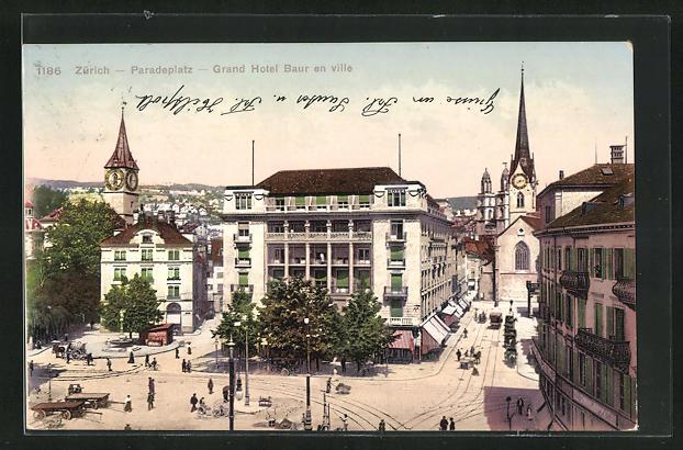 AK Zürich, Grand Hotel Baur en ville, Paradeplatz