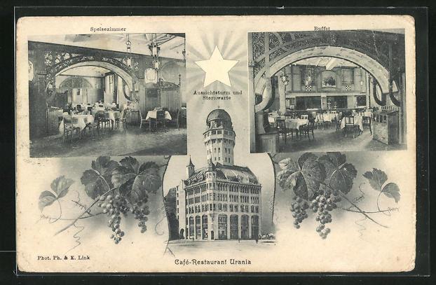 AK Zürich, Cafe-Restaurant Urania mit Aussichtsturm und Sternwarte, Innenansichten Speisezimmer u. Buffet