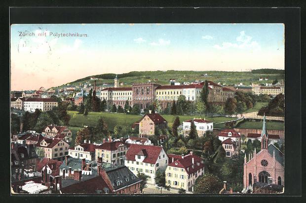 AK Zürich, Teilansicht mit Polytechnikum