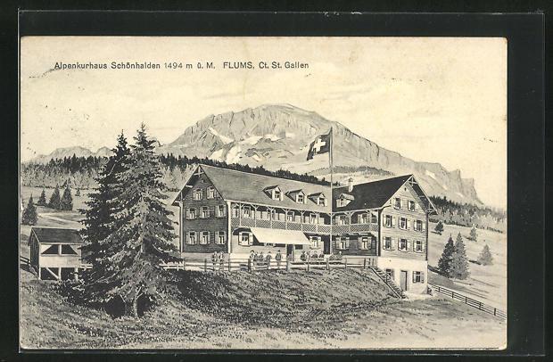 AK Flums, Alpenkurhaus Schönhalden