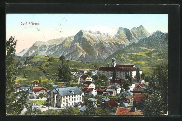 AK Pfäfers, Teilansicht mit Bergen