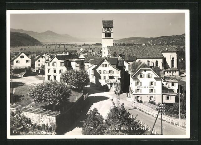 AK Uznach, Teilansicht mit Gasthaus Rössli, Blick zum Zürichsee