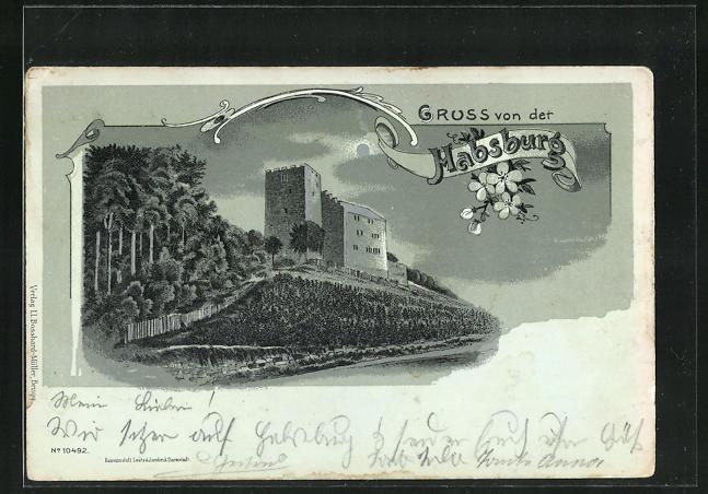 Mondschein-Lithographie Habsburg, Blick auf Schloss Habsburg