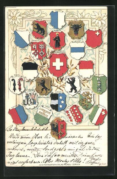 Relief-AK Schweiz, Wappen der Kantone