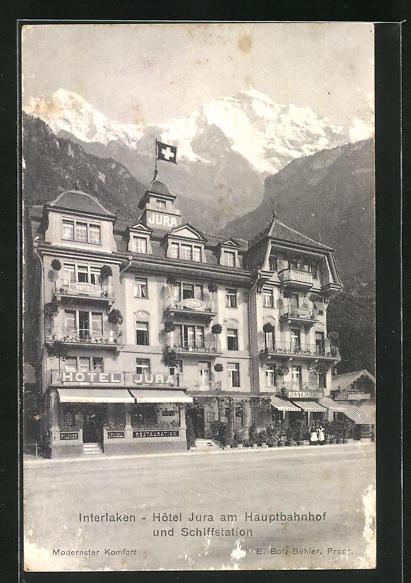 AK Interlaken, Hotel Jura am Hauptbahnhof und Schiffstation