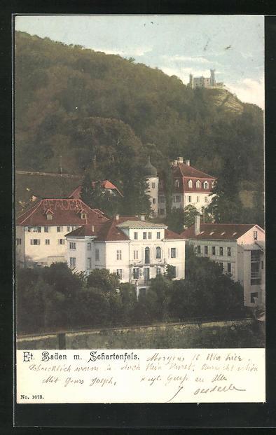 AK Baden, Teilansicht mit Blick nach Schloss Schartenfels