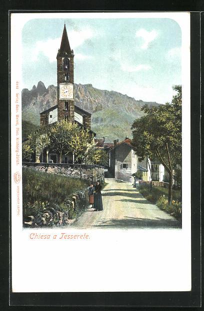 AK Tesserete, Strassenpartie mit Blick zur Kirche, Chiesa 0