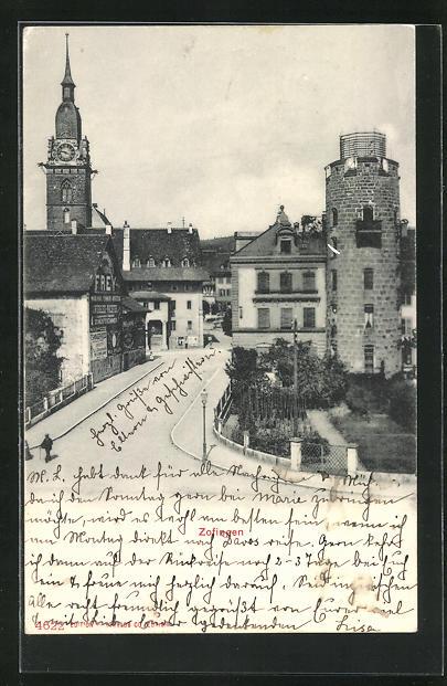 AK Zofingen, Strassenpartie mit Turm und Kirche