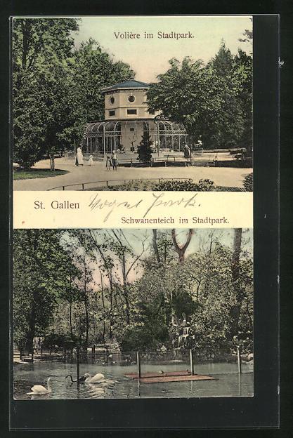 AK St. Gallen, Volière und Schwanenteich im Stadtpark 0
