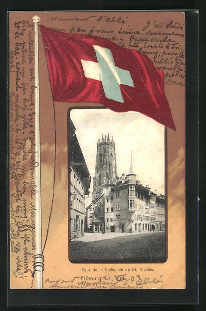 AK Fribourg, Tour de la Collégiale de St. Nicolas, Schweizer Nationalflagge