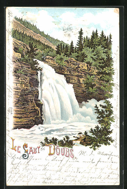 Lithographie Les Brenets, Le Saut du Doubs, Doubs-Wasserfall
