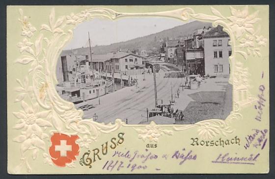 Relief-AK Rorschach, Strassenpartie am Dampfboothafen
