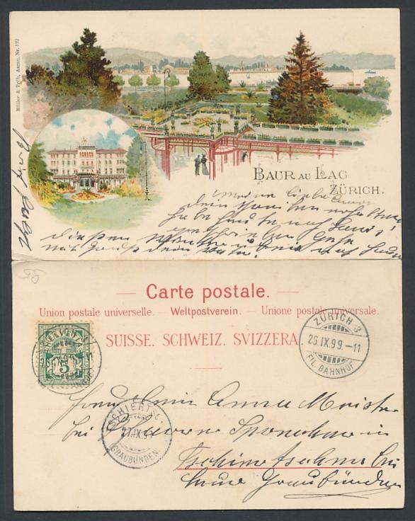 Klapp-Lithographie Zürich, Hotel & Pension Baur au Lac, rückseitig Abend-Programm 0