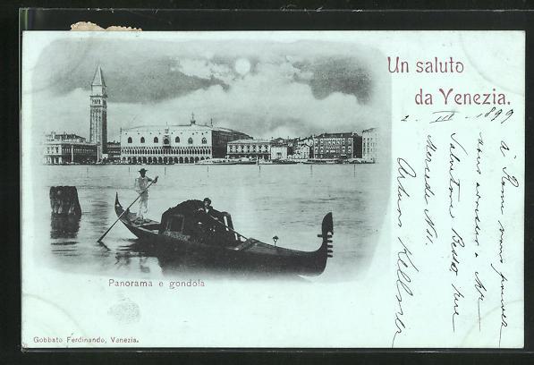Mondschein-AK Venezia, Panorama e gondola