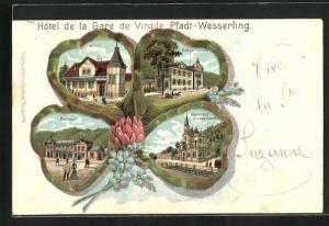 Passepartout-Lithographie Pfadt-Wesserling, Hotel de la Gare de Virgile, Maria Hlf-Kapelle, Bahnhof