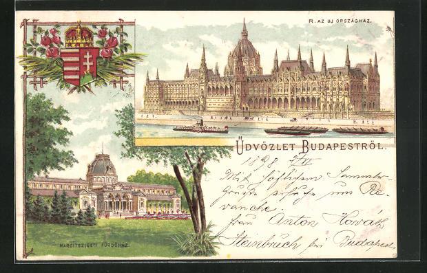 Lithographie Budapest, R. AZ UJ Országnaz, Margitszigeti Fürdöház
