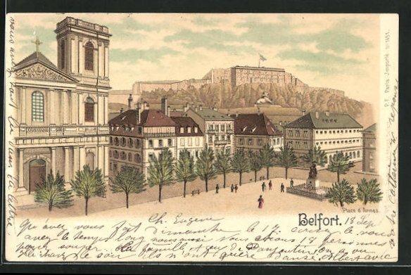 Lithographie Belfort, Place d'Armes