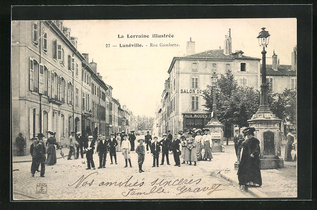 AK Lunéville, Rue Gambetta