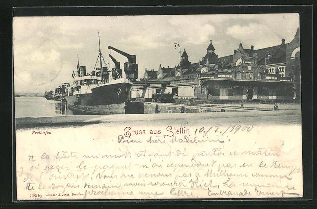 AK Stettin, Partie am Freihafen