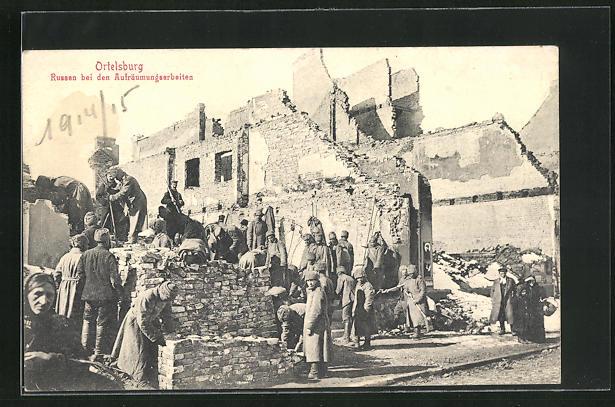 AK Ortelsburg, Russen bei den Aufräumungsarbeiten