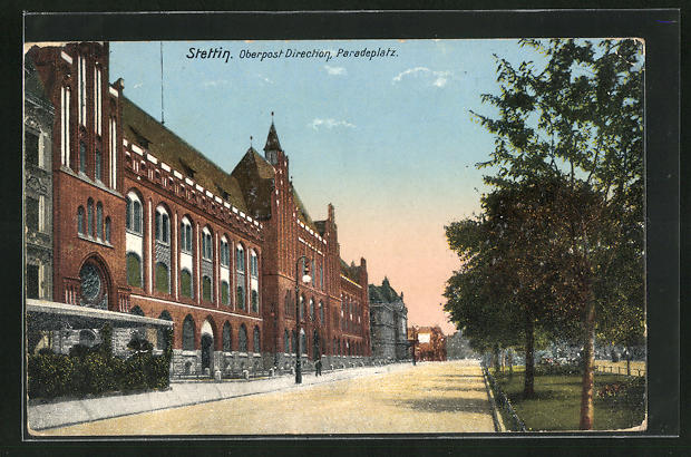 AK Stettin, Oberpostdirektion, Paradeplatz
