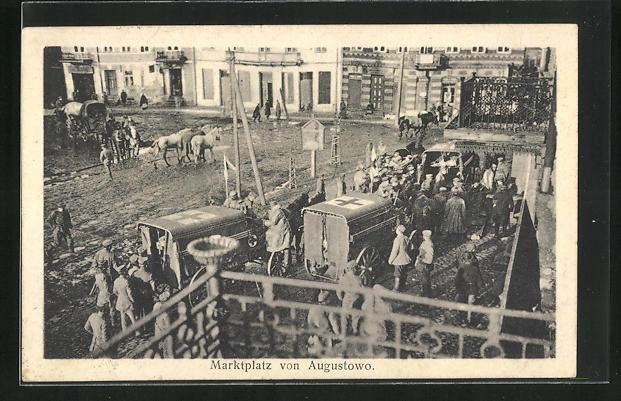 AK Augustowo, Soldaten auf dem Marktplatz