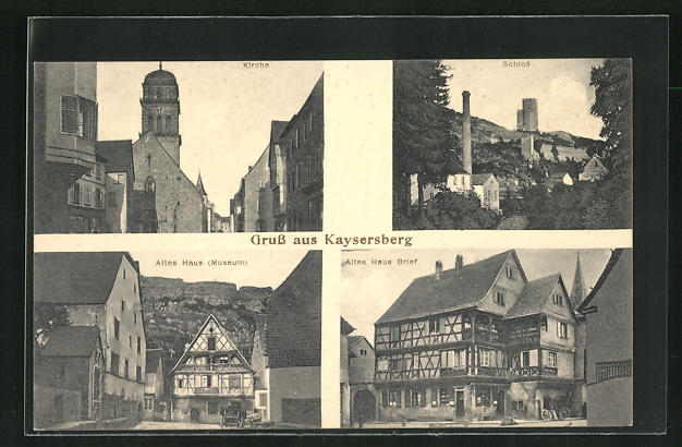 AK Kaysersberg, Kirche, Schloss, Altes Haus Brief