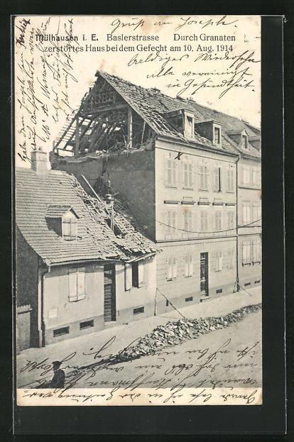 AK Mühlhausen, zerstörtes Haus in der Baslerstrasse 0