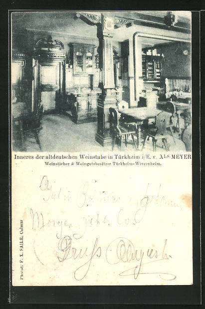 AK Türkheim, Innenansicht des Gasthauses altdeutsche Weinstube 0