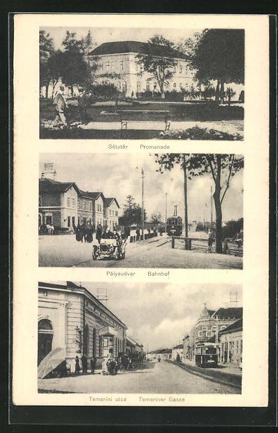 AK Ujvidek, Promenade, Bahnhof, Temeriner Gasse 0