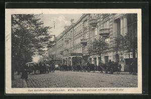 AK Wilna, Georgstrasse mit Hotel Bristol und Pferdekutschen