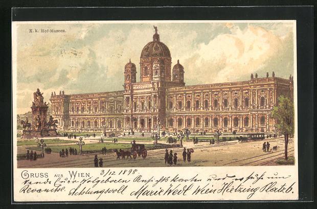 AK Wien, Blick zu den K. k. Hof-Museen 0
