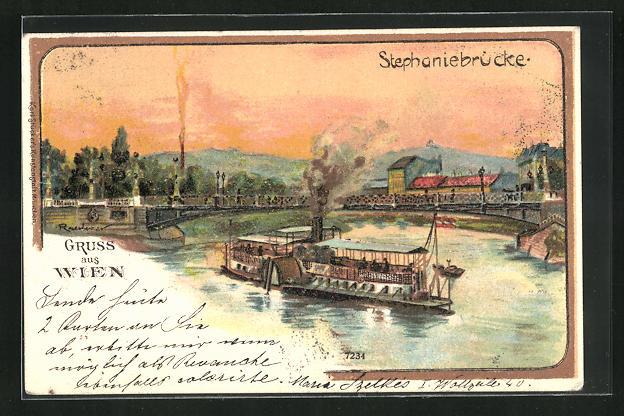 Lithographie Wien, Stephaniebrücke und Raddampfer 0