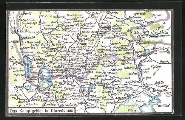 AK Monastir, das Kampfgebiet als Landkarte mit Umgebung
