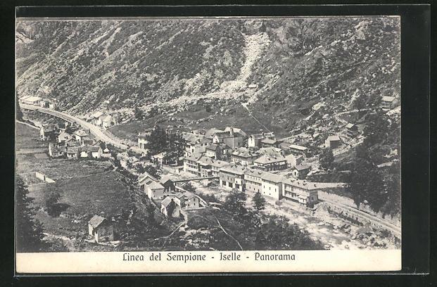 AK Iselle, Panoramablick mit Gebirge