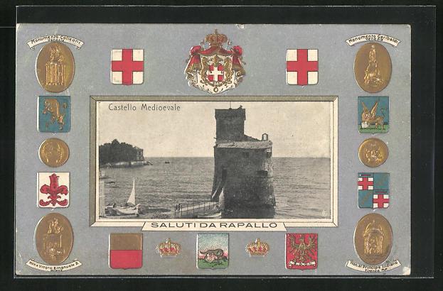 Präge-AK Rapallo, Castello Medioevale, verschiedene Wappen