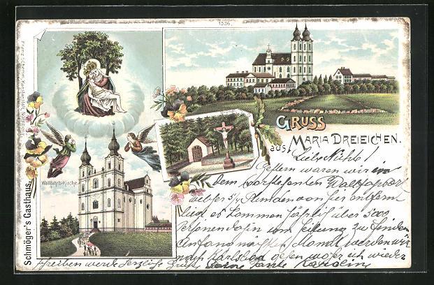 Lithographie Maria Dreieichen, Wallfahrtskirche, Bründl, Marienbildnis 0