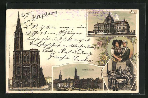 Lithographie Strassburg, Münster, Kaiserliches Palais, Kleber-Platz