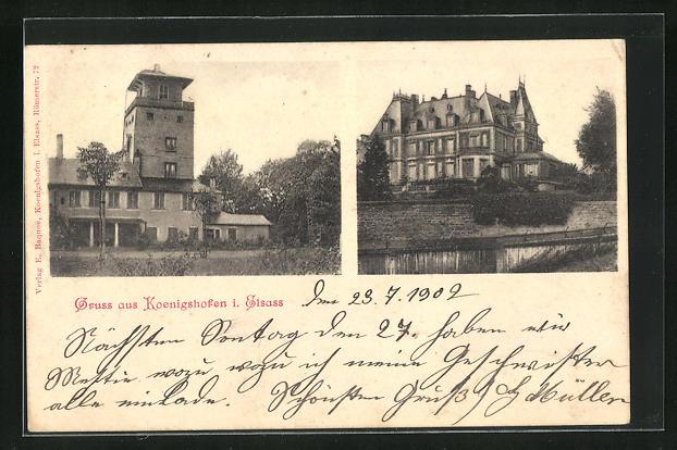 AK Koenigshofen, Schnockeloch, herrschaftliche Villa