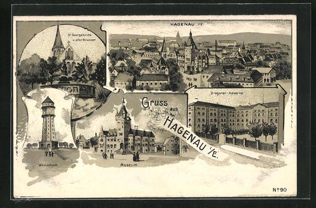 AK Hagenau, Wasserturm, Gesamtansicht, Dragoner-Kaserne