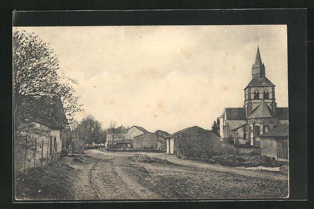 AK Heutregiville, Ortsansicht mit Kirche