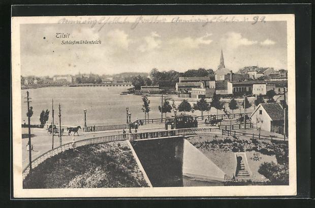 AK Tilsit, Ortsansicht mit Schlossmühlenteich