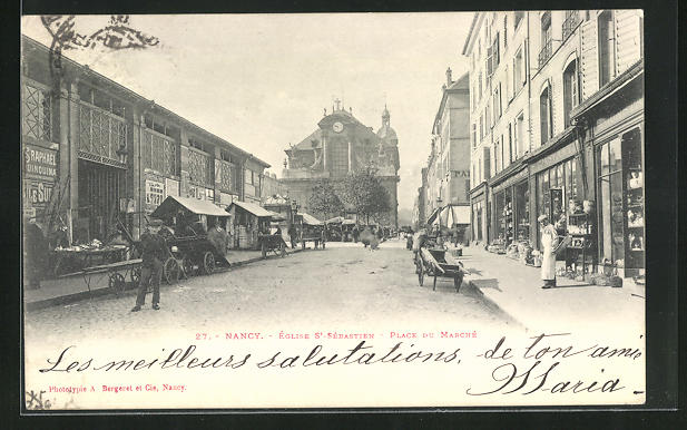 AK Nancy, Eglise St-Sebastien, Place du Marche
