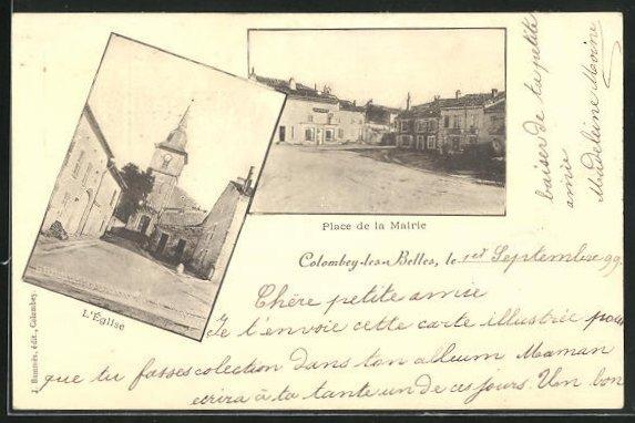 AK Colombey-les-Belles, Place de la Mairie, l'Eglise
