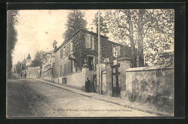 AK Ville-d'Avray, Le Monument de Gambetta et l'Avenue