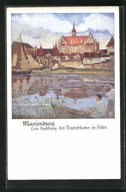 AK Marienburg / Malbork, Blick vom Fluss auf die Stadt