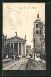 AK Wilna, Kathedrale mit Glockenturm