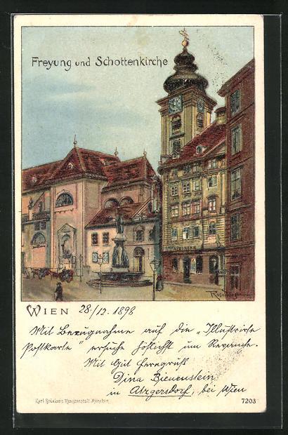 Lithographie Wien, Freyung und Schottenkirche 0