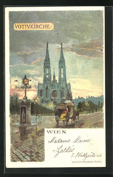 Lithographie Wien, Votivkirche im Abendlicht 0